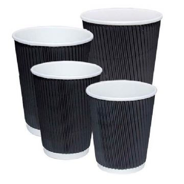 8oz. Black Ripple Paper Cups- Great for Tea, Coffee, Hot Drinks- 500 Pack
